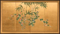 Japanese Four Panel Screen Young Bamboo and Morning Glory - 414761
