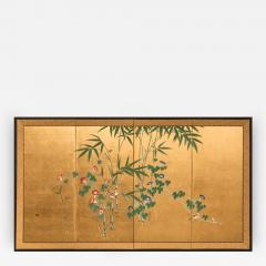 Japanese Four Panel Screen Young Bamboo and Morning Glory - 414943