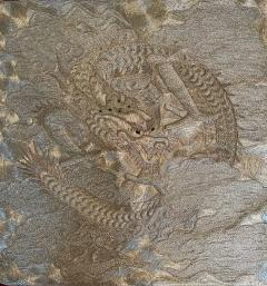 Japanese Fukusa Relief Embroidery Textile Art of Dragon - 2103106