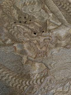 Japanese Fukusa Relief Embroidery Textile Art of Dragon - 2103128