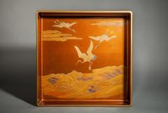 Japanese Nashiji Lacquer Tray With Crane and Wave Design - 1631388