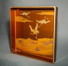 Japanese Nashiji Lacquer Tray With Crane and Wave Design - 1631412
