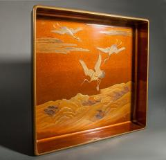Japanese Nashiji Lacquer Tray With Crane and Wave Design - 1631416