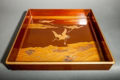Japanese Nashiji Lacquer Tray With Crane and Wave Design - 1631434