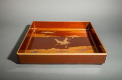 Japanese Nashiji Lacquer Tray With Crane and Wave Design - 1631435
