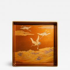 Japanese Nashiji Lacquer Tray With Crane and Wave Design - 1636230