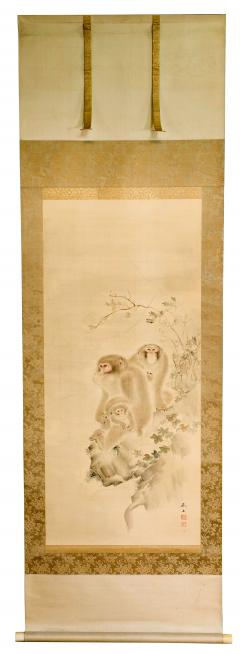 Japanese Silk Scroll Painting of Moneys Edo Period Mori Tetsuzan - 2118822