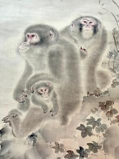 Japanese Silk Scroll Painting of Moneys Edo Period Mori Tetsuzan - 2118825