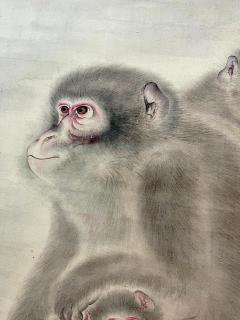 Japanese Silk Scroll Painting of Moneys Edo Period Mori Tetsuzan - 2118828