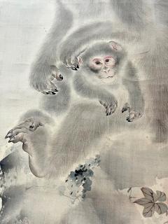 Japanese Silk Scroll Painting of Moneys Edo Period Mori Tetsuzan - 2118830