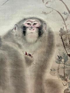 Japanese Silk Scroll Painting of Moneys Edo Period Mori Tetsuzan - 2118831
