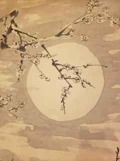Japanese Single Panel Painting Moon and Plum Design Winter Scene  - 1964301
