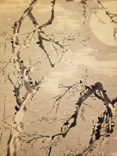 Japanese Single Panel Painting Moon and Plum Design Winter Scene  - 1964317