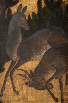 japanese six panel screen buck and doe in pine forest