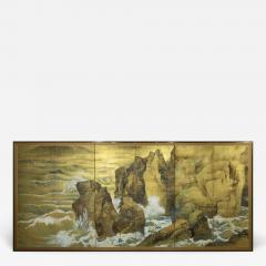 Japanese Six Panel Screen Craggy Coastal Landscape - 735388