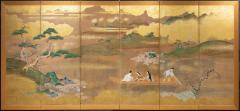 Japanese Six Panel Screen Glorious Painting of Lady Murasaki on Lake Biwa - 1662887