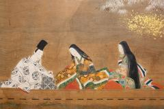 Japanese Six Panel Screen Glorious Painting of Lady Murasaki on Lake Biwa - 1662891