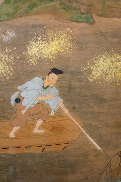 Japanese Six Panel Screen Glorious Painting of Lady Murasaki on Lake Biwa - 1662903