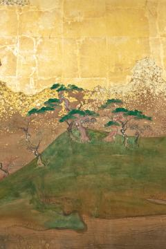 Japanese Six Panel Screen Glorious Painting of Lady Murasaki on Lake Biwa - 1662904