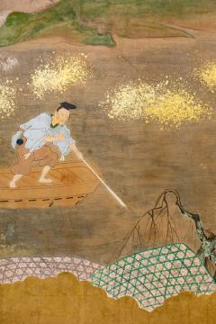 Japanese Six Panel Screen Glorious Painting of Lady Murasaki on Lake Biwa - 1662905