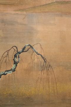 Japanese Six Panel Screen Glorious Painting of Lady Murasaki on Lake Biwa - 1662913