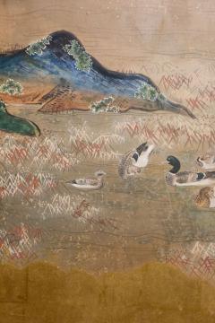 Japanese Six Panel Screen Glorious Painting of Lady Murasaki on Lake Biwa - 1662922