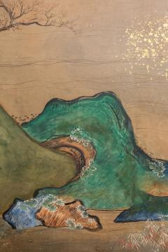 Japanese Six Panel Screen Glorious Painting of Lady Murasaki on Lake Biwa - 1662923