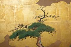 Japanese Six Panel Screen Glorious Painting of Lady Murasaki on Lake Biwa - 1662924