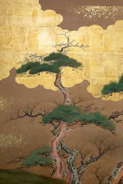 Japanese Six Panel Screen Glorious Painting of Lady Murasaki on Lake Biwa - 1662925