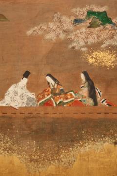 Japanese Six Panel Screen Glorious Painting of Lady Murasaki on Lake Biwa - 1662948