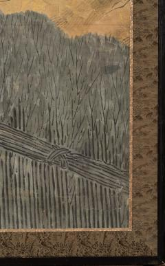 Japanese Six Panel Screen Hawk with Ancient Pine - 1771271