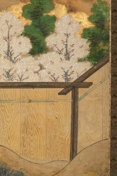 Japanese Six Panel Screen Hawk with Ancient Pine - 1771279