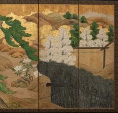 Japanese Six Panel Screen Hawk with Ancient Pine - 1771285