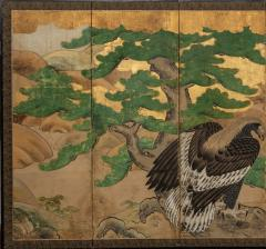 Japanese Six Panel Screen Hawk with Ancient Pine - 1771306