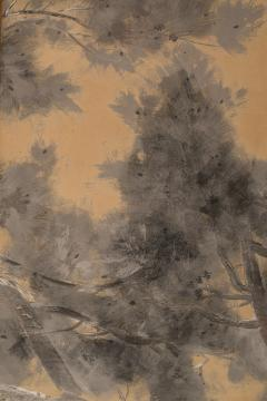 Japanese Six Panel Screen Late Autumn Pine and Crescent Moon - 392488