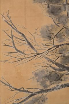 Japanese Six Panel Screen Late Autumn Pine and Crescent Moon - 392491