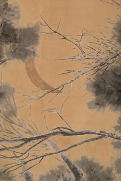 Japanese Six Panel Screen Late Autumn Pine and Crescent Moon - 392492
