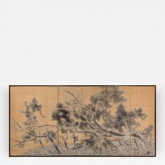 Japanese Six Panel Screen Late Autumn Pine and Crescent Moon - 393087