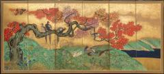 Japanese Six Panel Screen Pheasants In an Autumn Landscape - 1771235