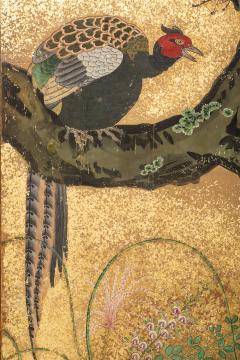 Japanese Six Panel Screen Pheasants In an Autumn Landscape - 1771311