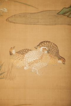 Japanese Six Panel Screen Quails in a Gentle Landscape - 1079777