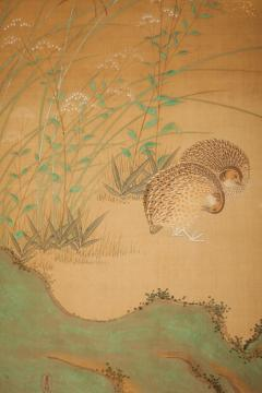 Japanese Six Panel Screen Quails in a Gentle Landscape - 1079778