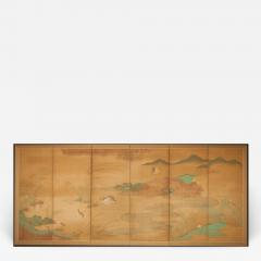 Japanese Six Panel Screen Quails in a Gentle Landscape - 1080433