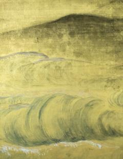 Japanese Six Panel Screen Rocks and Waves in a Coastal Landscape - 735179