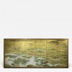 Japanese Six Panel Screen Rocks and Waves in a Coastal Landscape - 735392