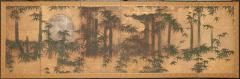 Japanese Six Panel Screen Silver Moon and Bamboo on Gold - 1571832
