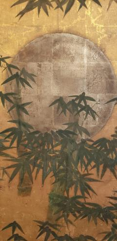 Japanese Six Panel Screen Silver Moon and Bamboo on Gold - 1571844