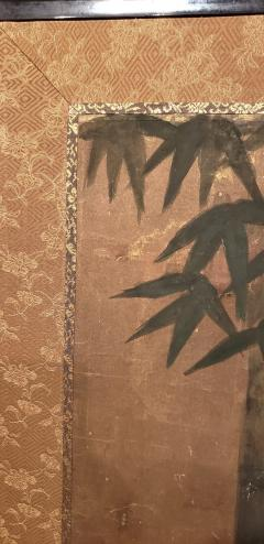 Japanese Six Panel Screen Silver Moon and Bamboo on Gold - 1571847