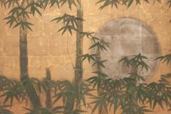 Japanese Six Panel Screen Silver Moon and Bamboo on Gold - 1571850