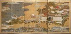 Japanese Six Panel Screen Tosa School Painting of the Battle of Ichinotani - 1964279